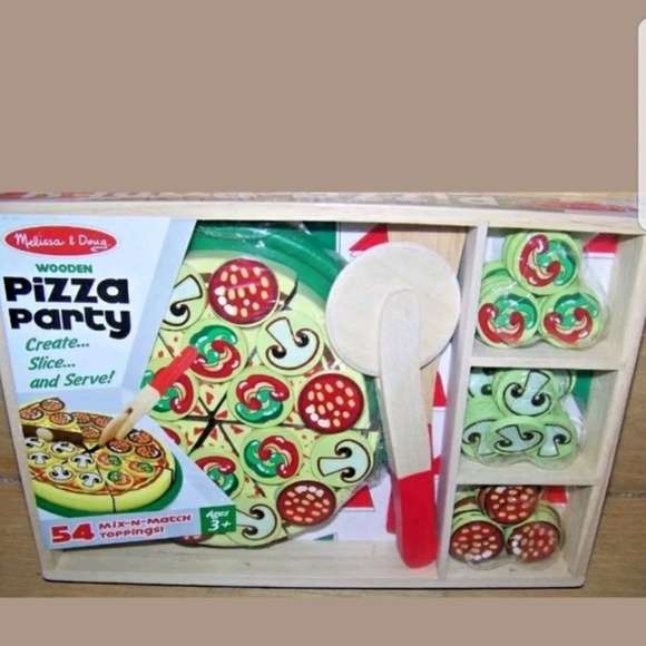 Melissa Doug Pizza Party Wooden Play Food Set Nwt